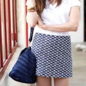 SEZANE Jacquard Navy and White Mini Skirt Size 36
